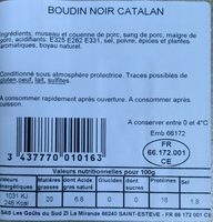 Boudin Noir Catalan Goût Du Sud, x2 - Ingredients - fr