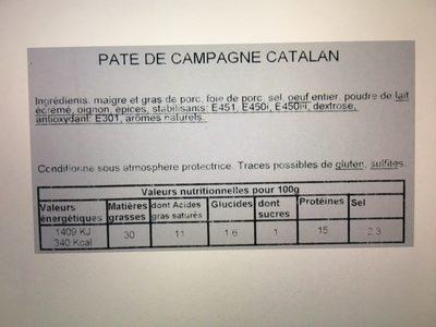 Pate de campagne Catalan LES GOUTS DU SUD - Ingredients - fr