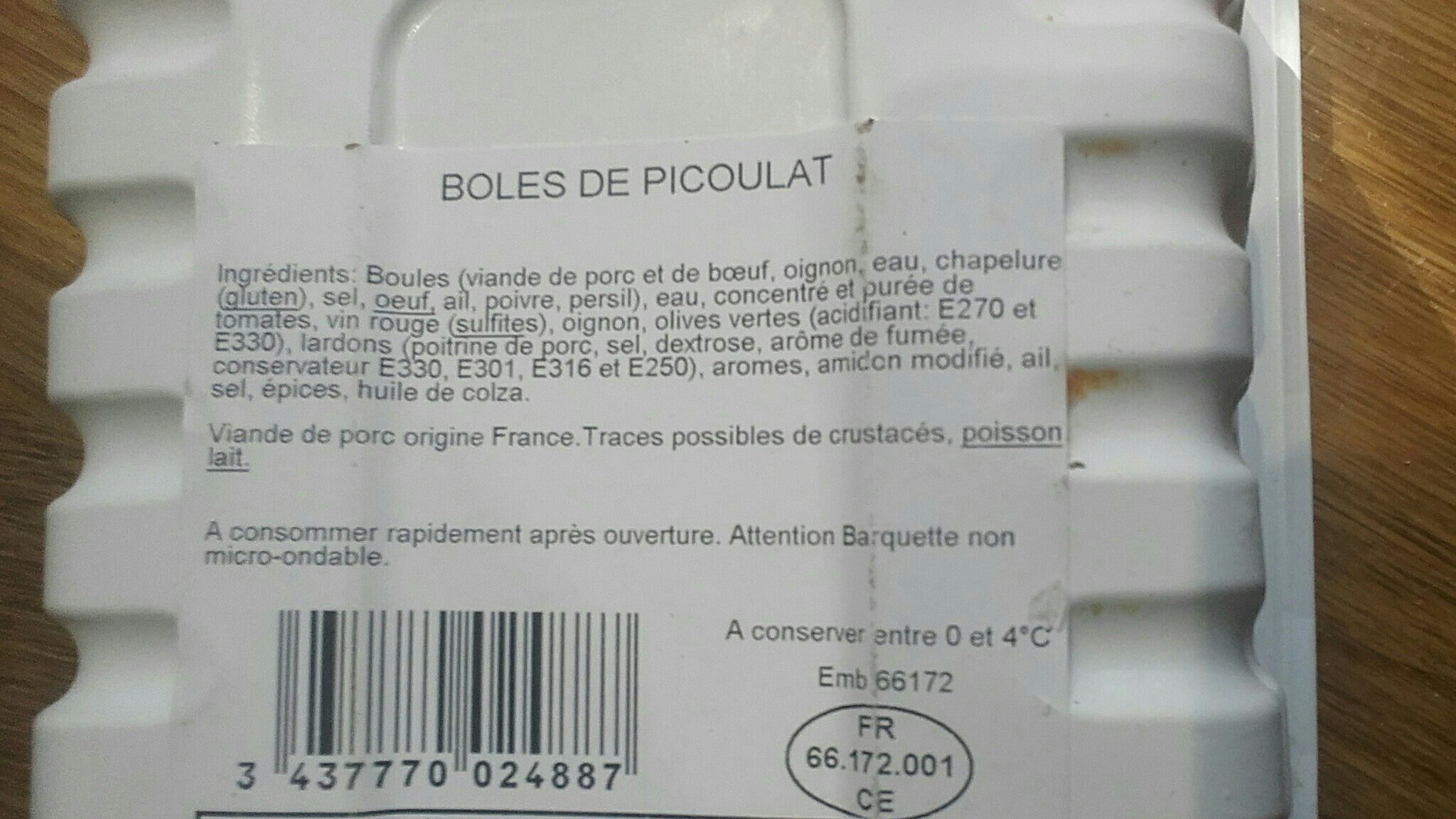 Boles de picoulat - Ingredients - fr
