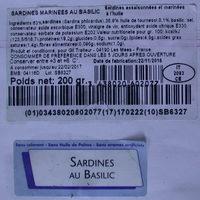 Sardines marinées au basilic - Product - fr