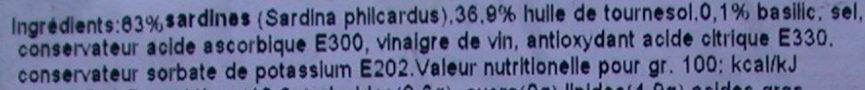 Sardines marinées au basilic - Ingrediënten - fr