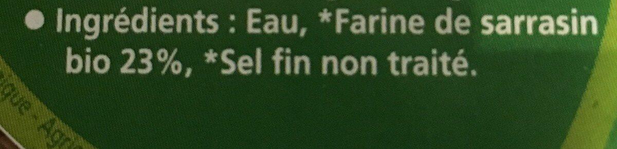 Galettes fraîches de sarrasin bio x6 390g - Ingrédients - fr
