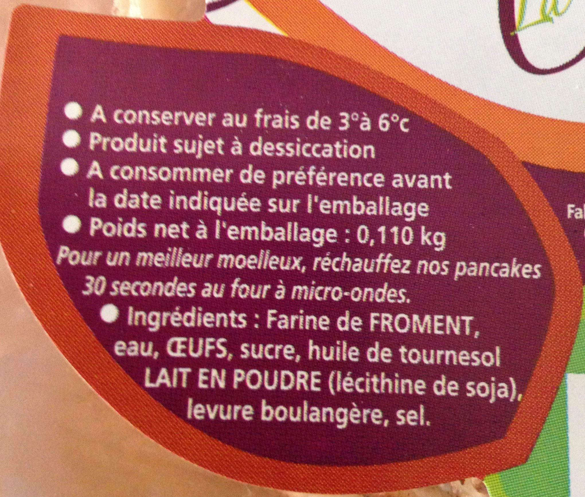 Pancakes frais (x 4) - Ingredients