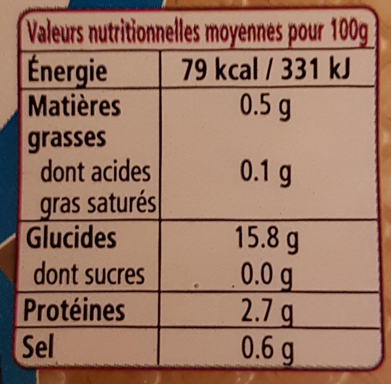 6 Galettes fraîches de sarrasin - Informations nutritionnelles - fr