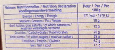 Gaufres fines pour beurre - Nutrition facts - fr