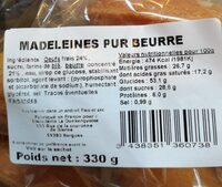 Madeleines pur beurre - Informations nutritionnelles - fr