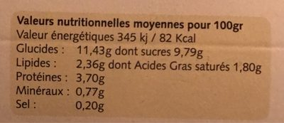 Yaourts vanille - Nutrition facts