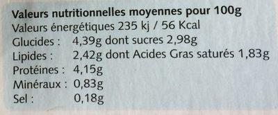 Yaourt Biphilus Demi-Écrémé - Informations nutritionnelles