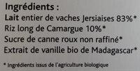 Riz au lait tradition - Ingrédients - fr