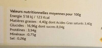Riz au lait tradition - Informations nutritionnelles - fr