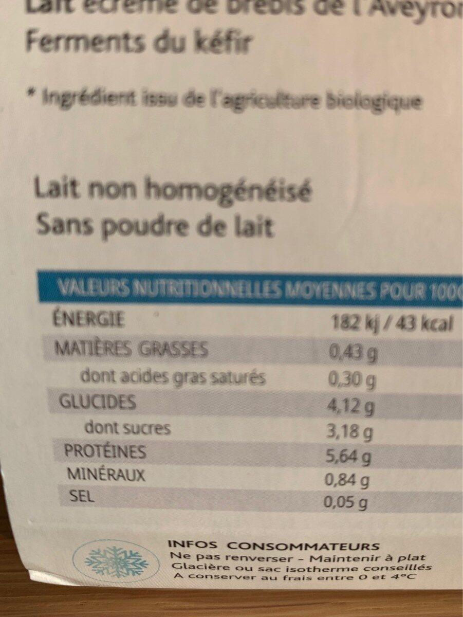 Kefir de brebris - Informations nutritionnelles - fr