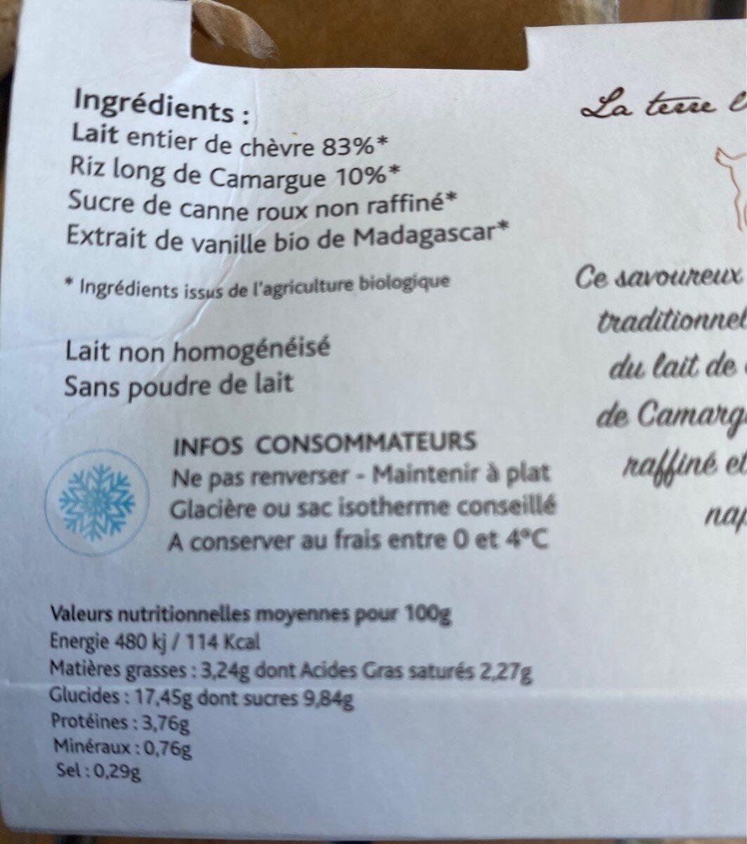 2 X 125G Riz Au Lait Chevre - Voedingswaarden - fr