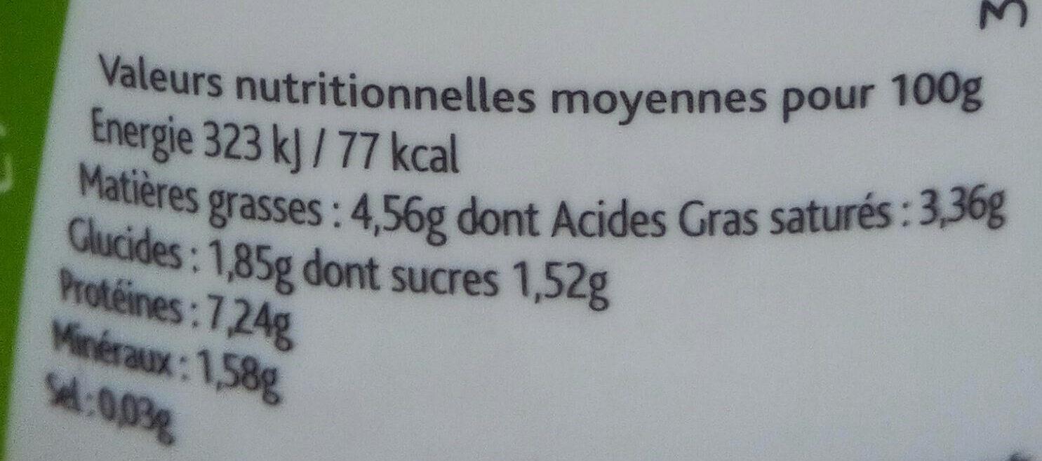 Fromage blanc lissé demi-écrémé - Voedingswaarden - fr