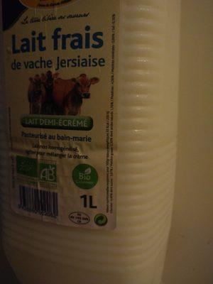 Lait frais de vache jersiaise pasteurisée au bain-marie - Nutrition facts - en