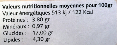 Choconeige - Nutrition facts - fr