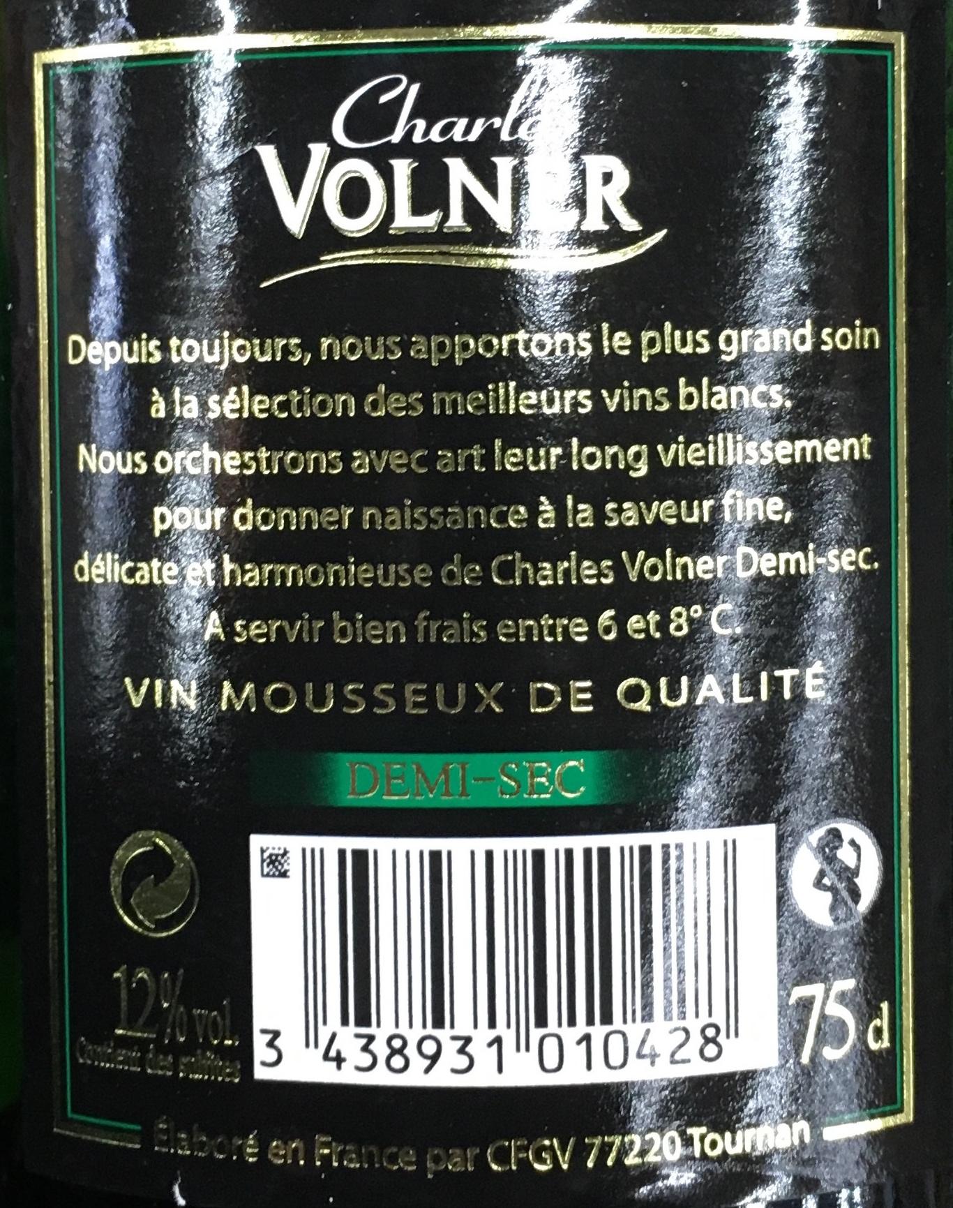 Blancs de blancs demi sec charles volner 75 cl - Quantite de vin par personne ...