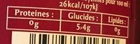 Rosé sans alcool - Voedingswaarden - fr