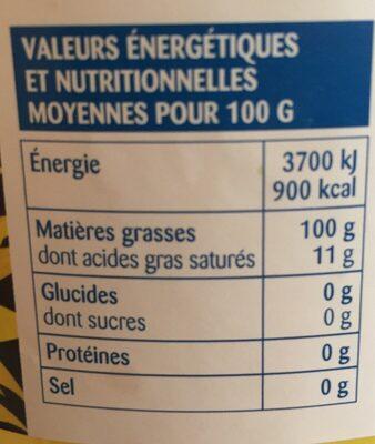 Huile Tournesol 3l - Nutrition facts - fr