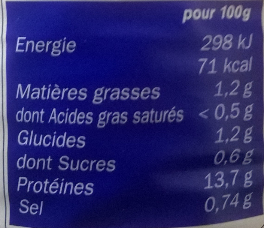 Escargots belle grosseur - Informations nutritionnelles