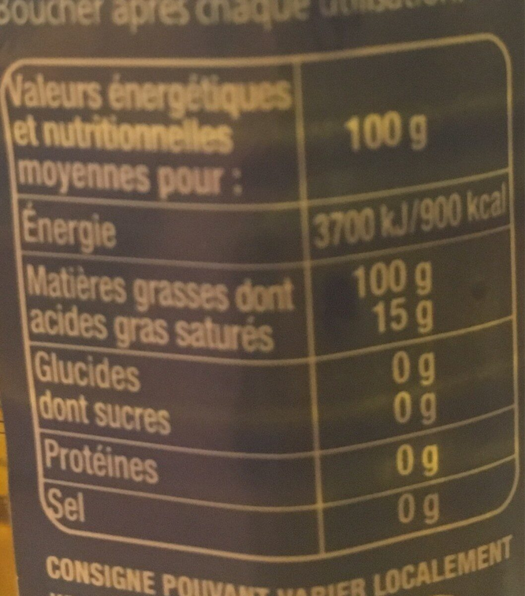 Huile d'olive vierge extra, extraite à froid - Informations nutritionnelles - fr