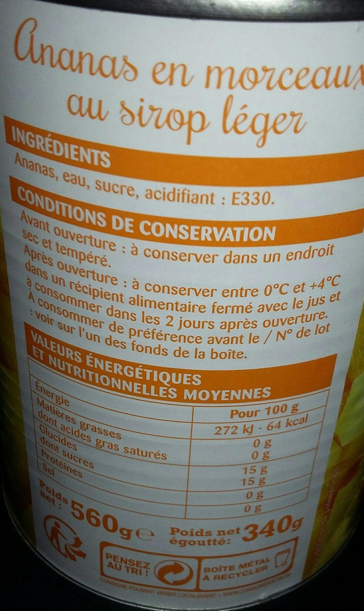 Ananas en morceaux au sirop léger - Ingrédients - fr