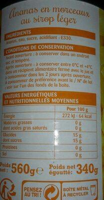 Ananas en morceaux au sirop léger - Informations nutritionnelles - fr