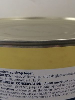Demi-poires au sirop leger - Ingredients