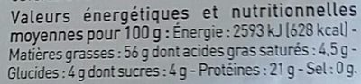 Amandes blanches effilées - Nutrition facts