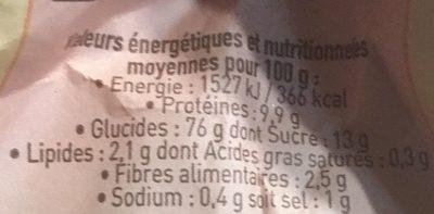Farine boulangère - Nutrition facts - fr