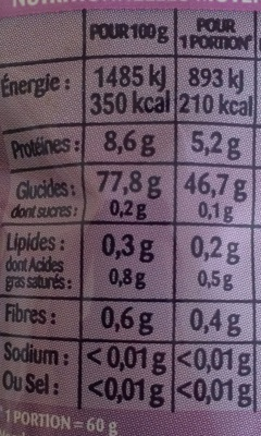 Riz Basmati - Nutrition facts - fr