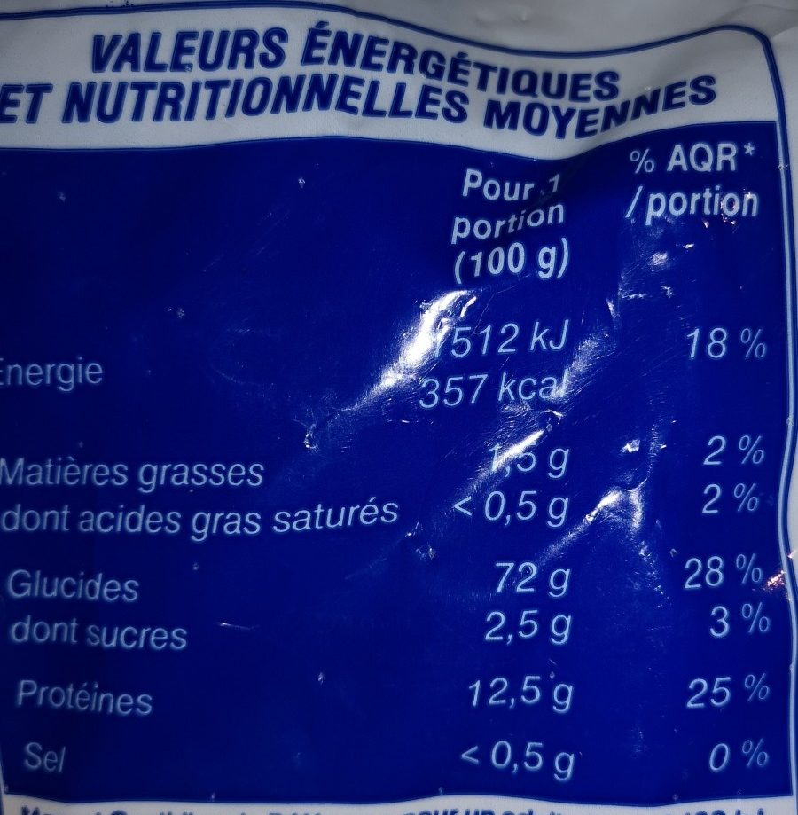 Macaroni - Voedingswaarden - fr