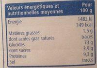 Farine de blé T55 - Informations nutritionnelles - fr