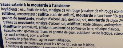 Sauce salade moutarde - Ingrédients