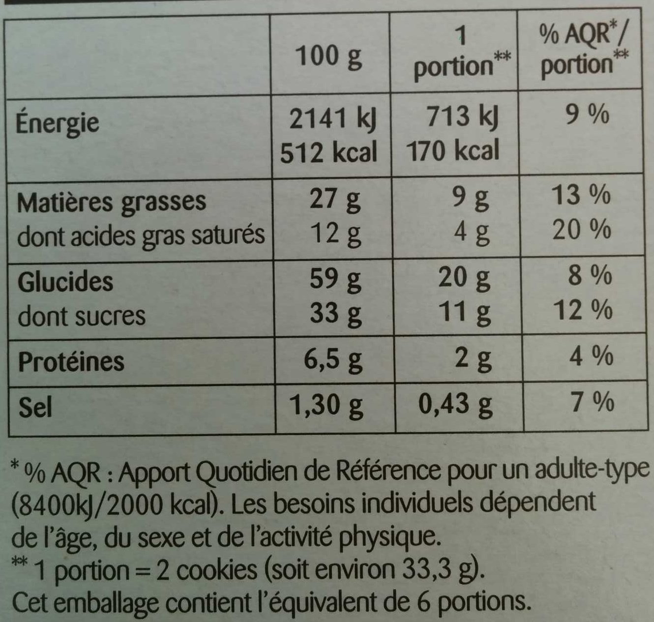 Cookies nougatine - Nutrition facts - fr