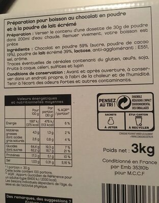 Lacté chocolat poudre sachets - Ingredients - fr