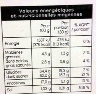 Lacté chocolat poudre sachets - Nutrition facts - fr