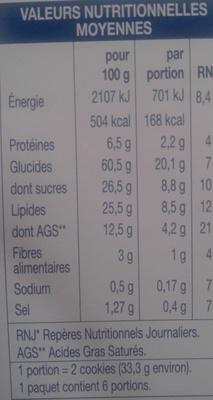 Cookies aux pépites de chocolat - Informations nutritionnelles - fr