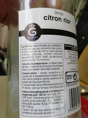 Sirop citron rior - Informations nutritionnelles