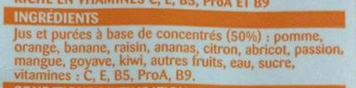 Nectar Multifruits à base de concentré - Ingrédients