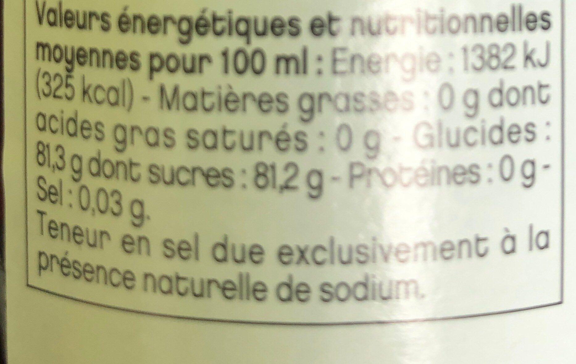 Sirop Vanille - Voedingswaarden
