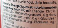 Sirop Gilbert Bubble Gum - Informations nutritionnelles