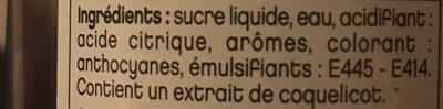 Sirop de coquelicot - Ingrédients
