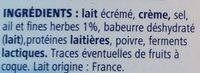 Fromage à tartiner à l'ail et aux fines herbes - Ingrédients - fr