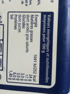 Fromage à tartiner à l'ail et aux fines herbes - Informations nutritionnelles - fr