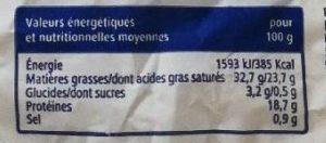 Brie 60% M.G. - Informations nutritionnelles