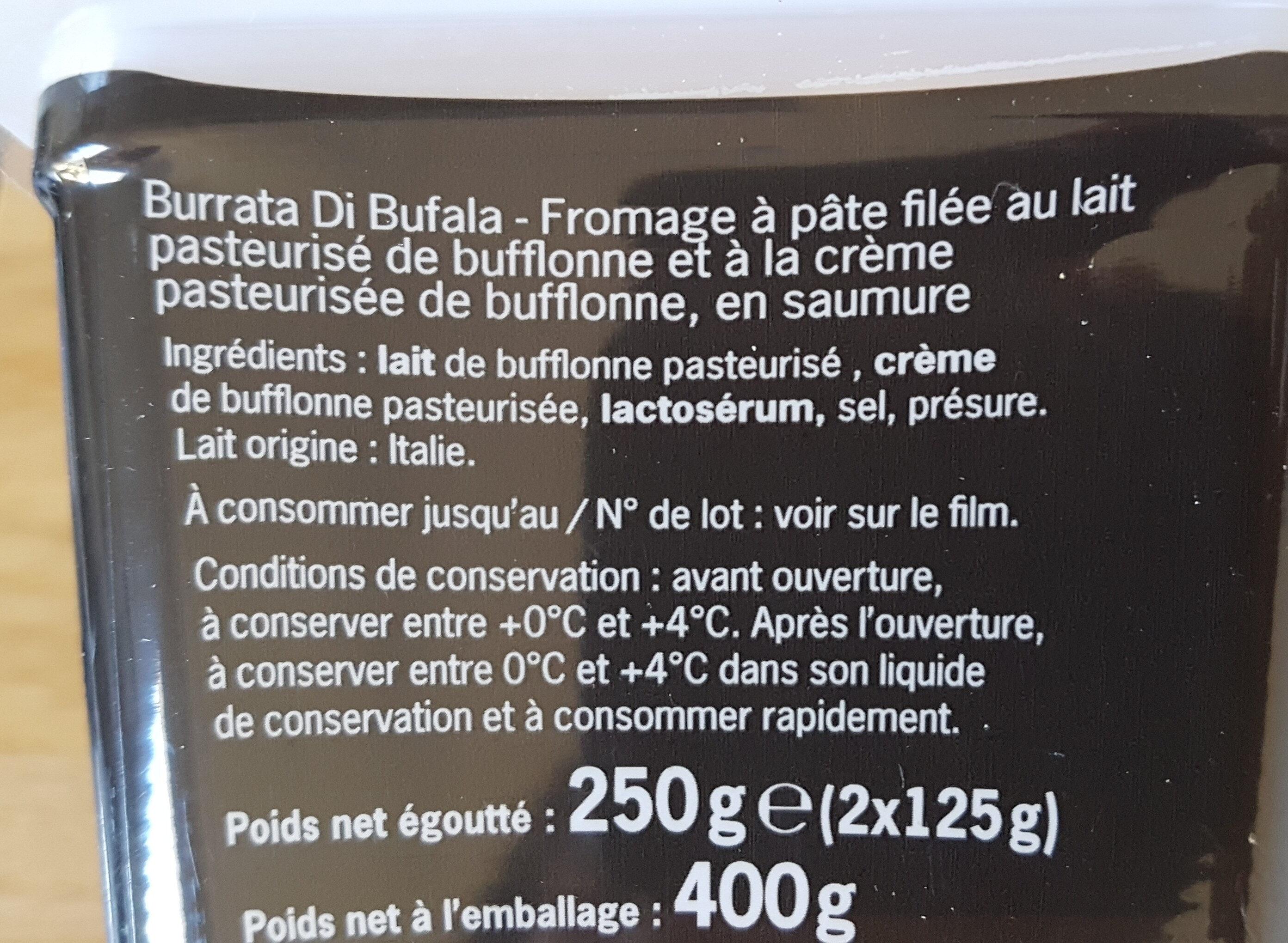 Burrata Di Bufala - Ingredients