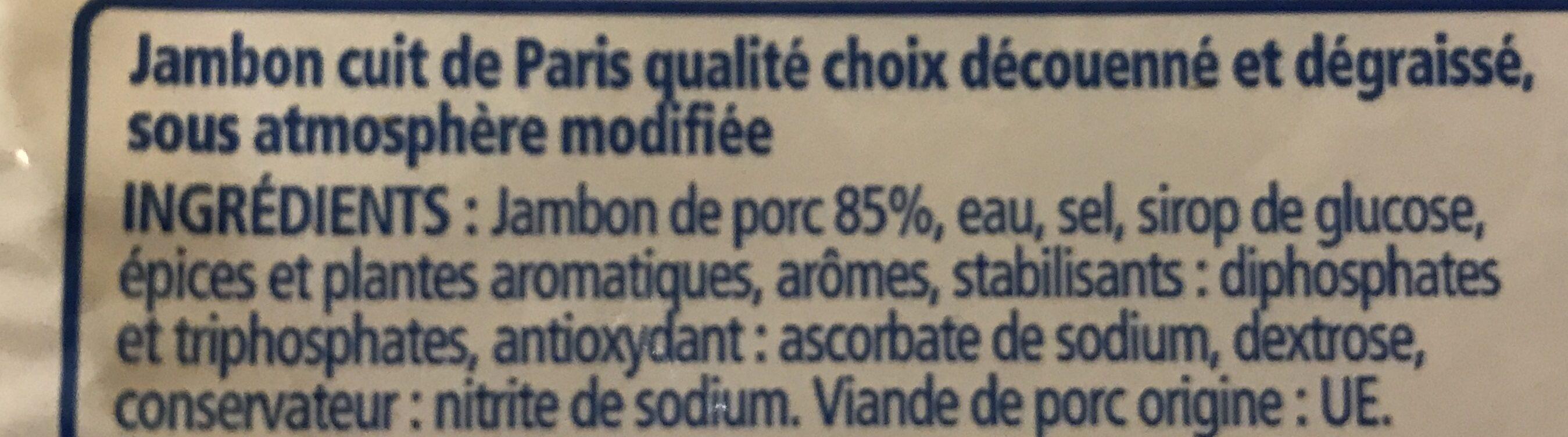 Jambon cuit de Paris - Ingrédients - fr