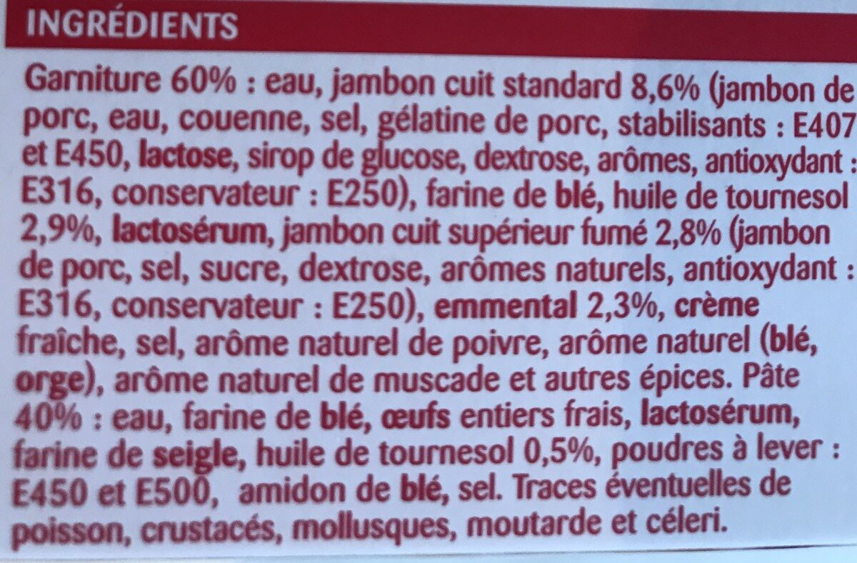 6 crêpes jambon fromage - Ingrédients - fr