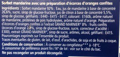 Sorbet Mandarine - Ingredients