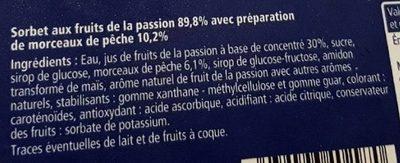 Sorbet passion - Ingrédients